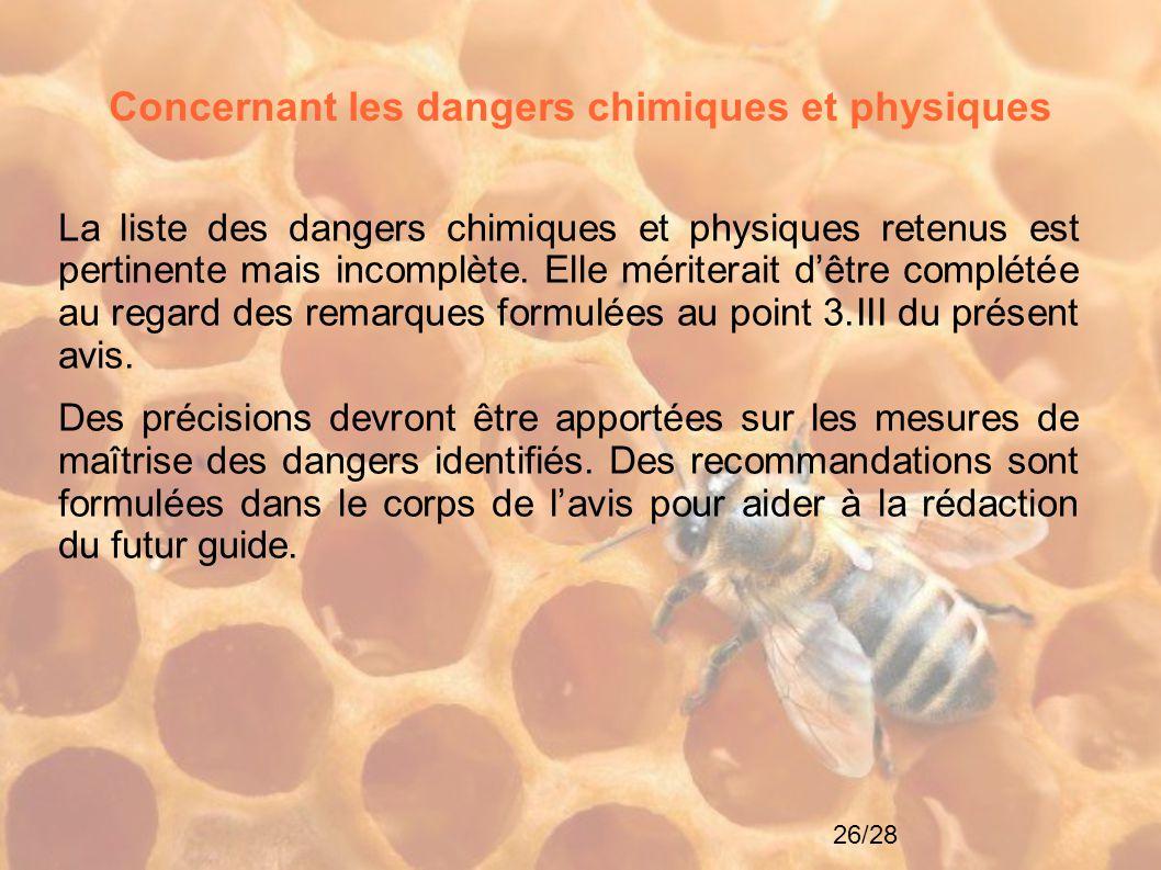 26/28 Concernant les dangers chimiques et physiques La liste des dangers chimiques et physiques retenus est pertinente mais incomplète. Elle mériterai