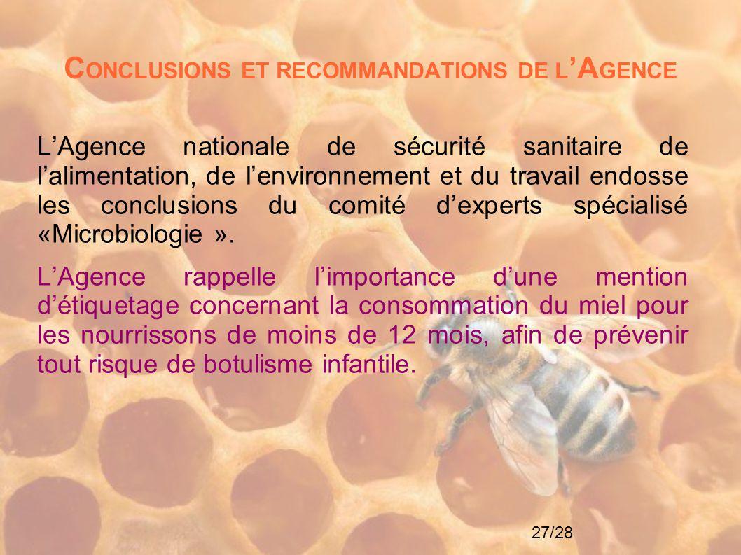 27/28 C ONCLUSIONS ET RECOMMANDATIONS DE L 'A GENCE L'Agence nationale de sécurité sanitaire de l'alimentation, de l'environnement et du travail endos