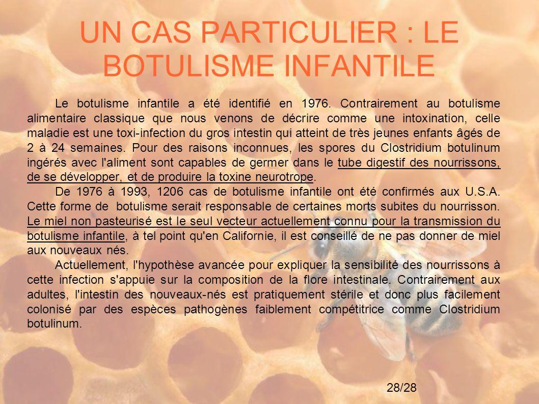 28/28 UN CAS PARTICULIER : LE BOTULISME INFANTILE Le botulisme infantile a été identifié en 1976. Contrairement au botulisme alimentaire classique que