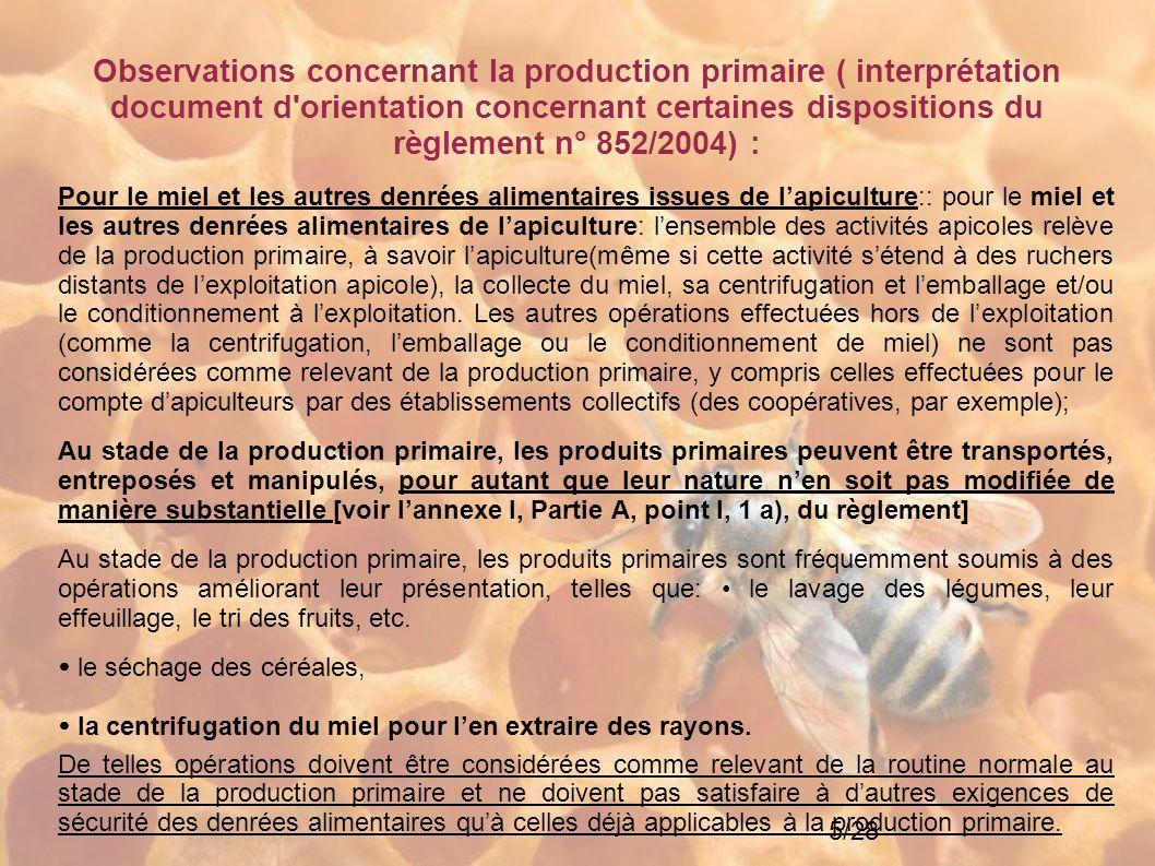 5/28 Observations concernant la production primaire ( interprétation document d'orientation concernant certaines dispositions du règlement n° 852/2004