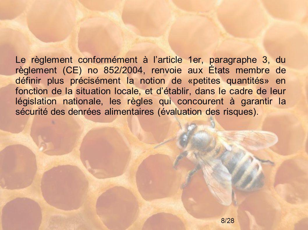 19/28 Remarques concernant les dangers microbiologiques Les dangers microbiologiques retenus sont les suivants : - Clostridium botulinum pour le miel ; - les bactéries pathogènes liées à l'hygiène et la contamination environnementale pour la gelée royale ; - les moisissures pour le pollen.