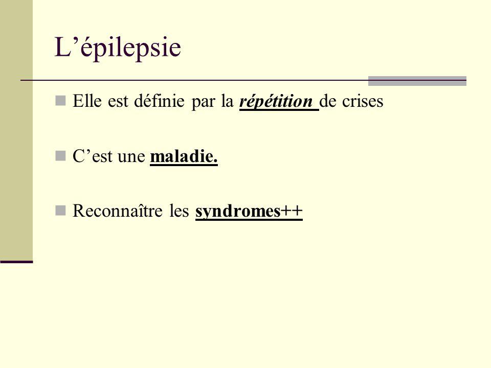L'épilepsie Elle est définie par la répétition de crises C'est une maladie.