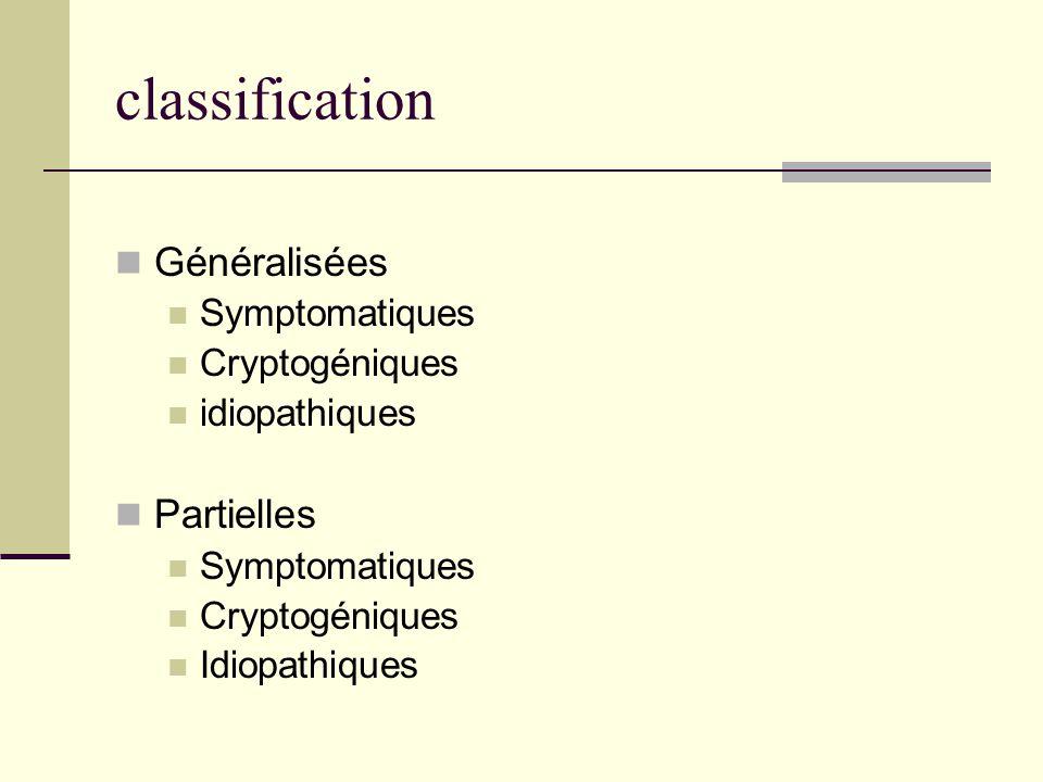 classification Généralisées Symptomatiques Cryptogéniques idiopathiques Partielles Symptomatiques Cryptogéniques Idiopathiques