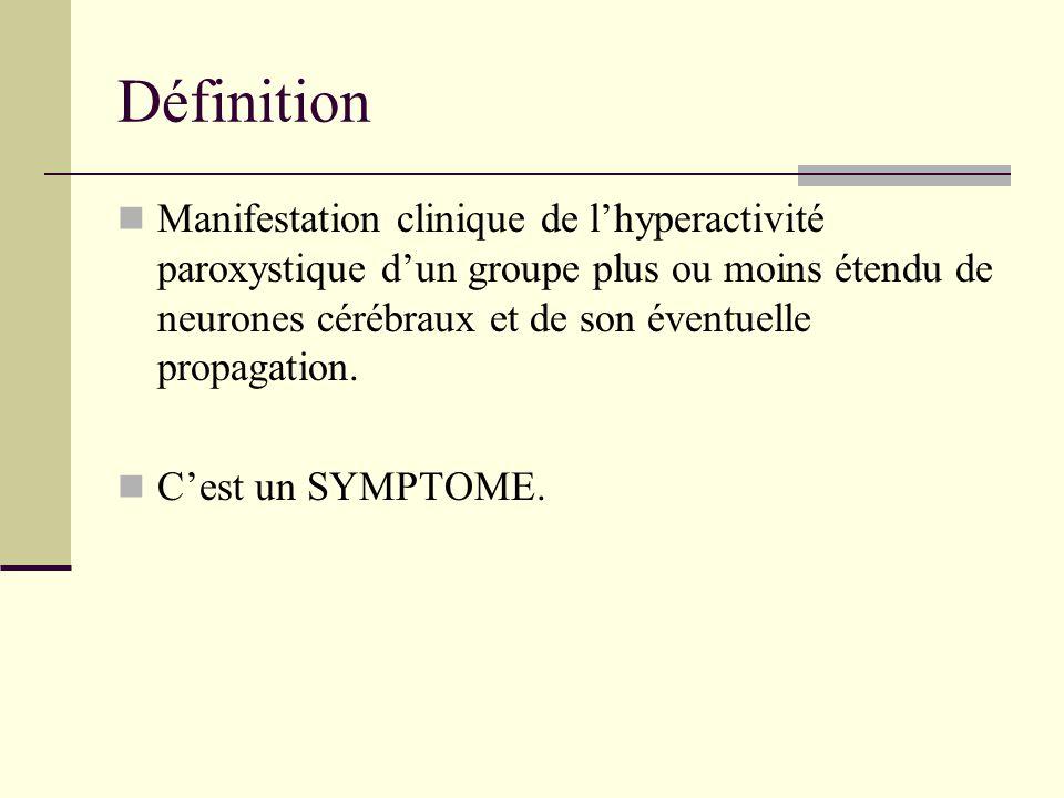 Définition Manifestation clinique de l'hyperactivité paroxystique d'un groupe plus ou moins étendu de neurones cérébraux et de son éventuelle propagation.