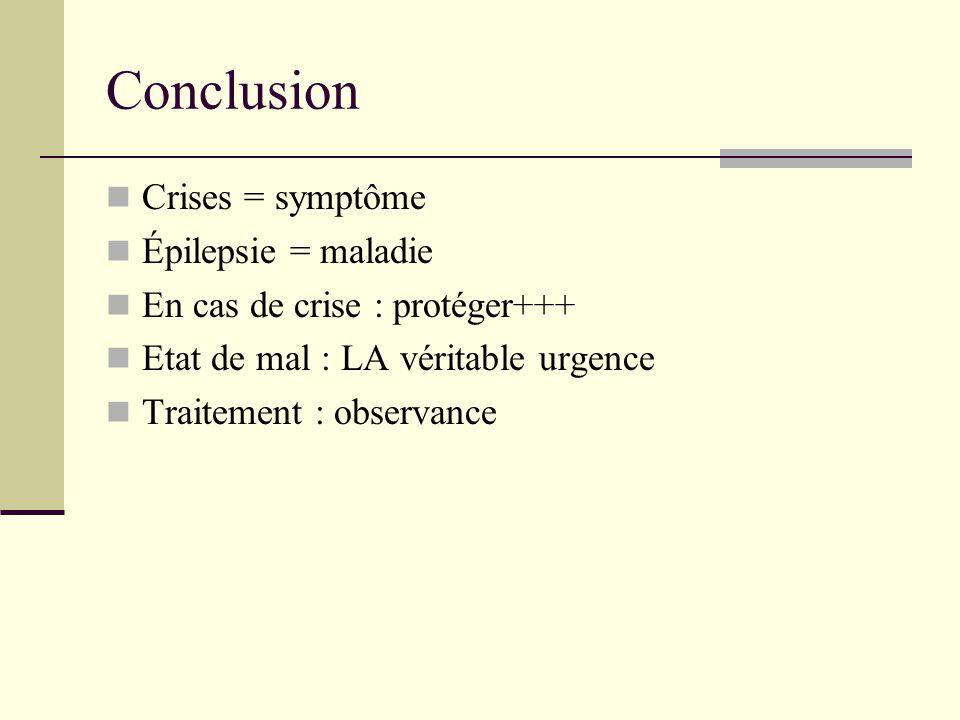 Conclusion Crises = symptôme Épilepsie = maladie En cas de crise : protéger+++ Etat de mal : LA véritable urgence Traitement : observance