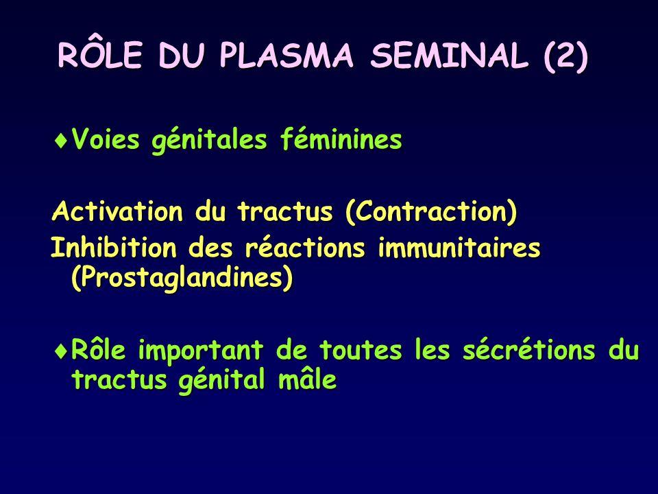 RÔLE DU PLASMA SEMINAL (2)  Voies génitales féminines Activation du tractus (Contraction) Inhibition des réactions immunitaires (Prostaglandines)  R