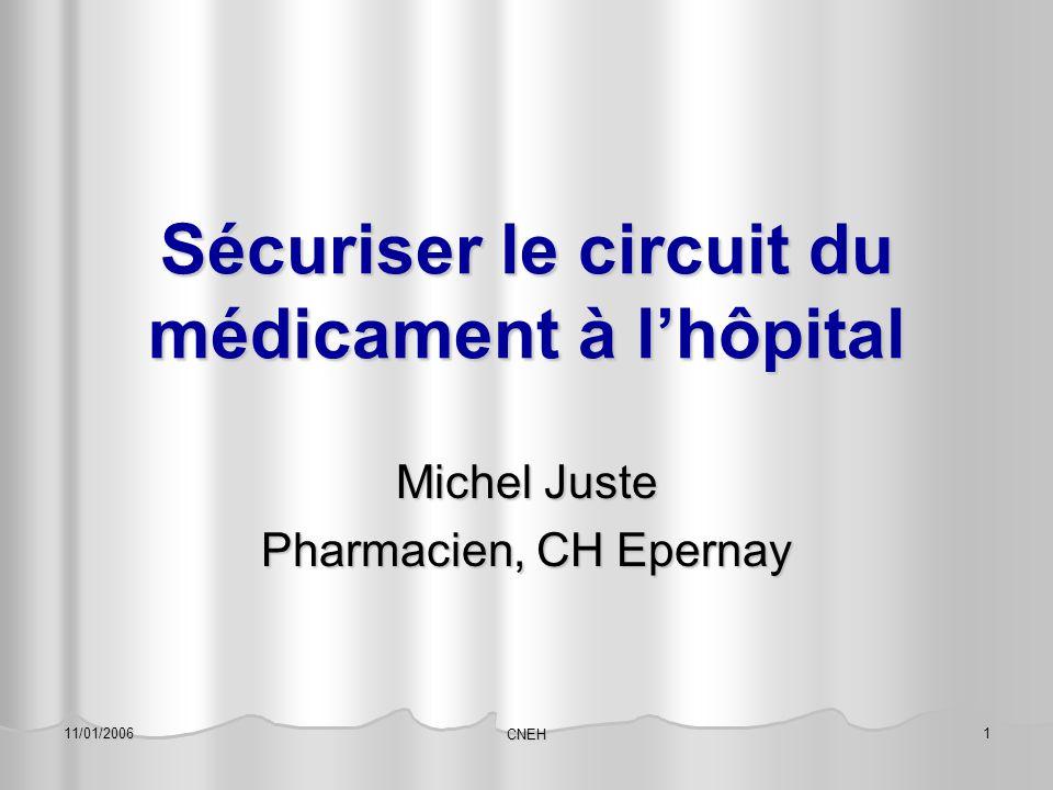 11/01/2006 CNEH 1 Sécuriser le circuit du médicament à l'hôpital Michel Juste Pharmacien, CH Epernay