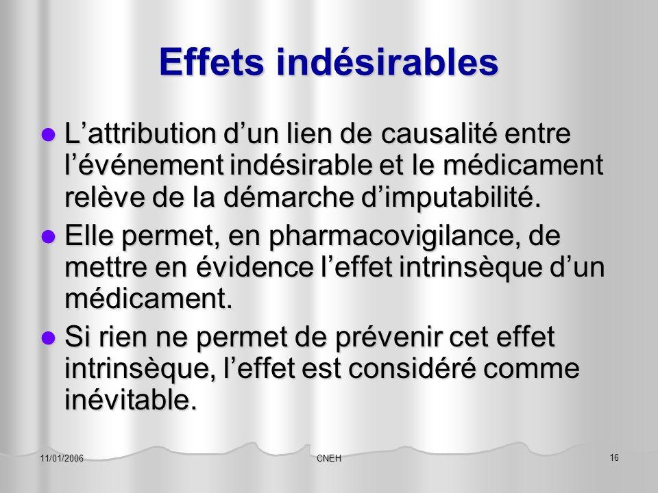 CNEH 16 11/01/2006 Effets indésirables L'attribution d'un lien de causalité entre l'événement indésirable et le médicament relève de la démarche d'imp