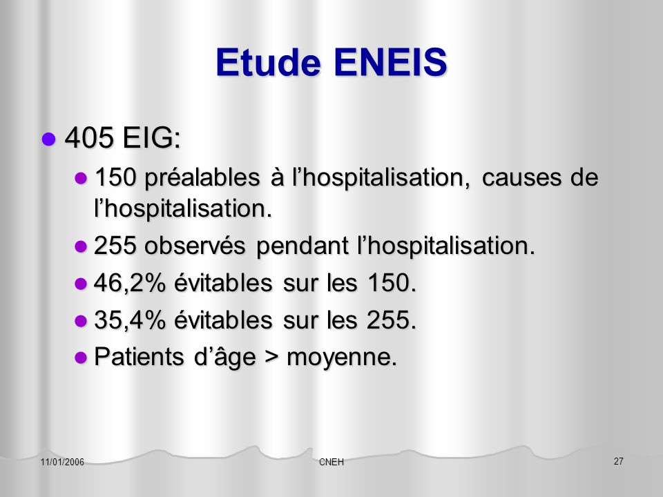 CNEH 27 11/01/2006 Etude ENEIS 405 EIG: 405 EIG: 150 préalables à l'hospitalisation, causes de l'hospitalisation. 150 préalables à l'hospitalisation,