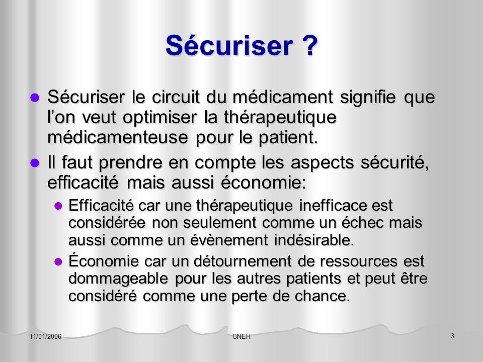CNEH 3 11/01/2006 Sécuriser ? Sécuriser le circuit du médicament signifie que l'on veut optimiser la thérapeutique médicamenteuse pour le patient. Séc