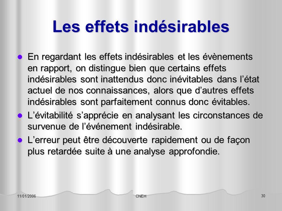 CNEH 30 11/01/2006 Les effets indésirables En regardant les effets indésirables et les évènements en rapport, on distingue bien que certains effets in