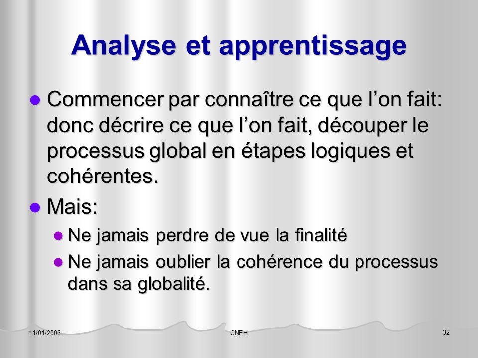 CNEH 32 11/01/2006 Analyse et apprentissage Commencer par connaître ce que l'on fait: donc décrire ce que l'on fait, découper le processus global en é