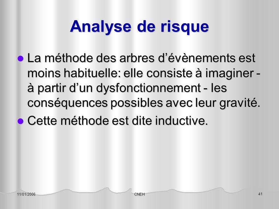 CNEH 41 11/01/2006 Analyse de risque La méthode des arbres d'évènements est moins habituelle: elle consiste à imaginer - à partir d'un dysfonctionneme