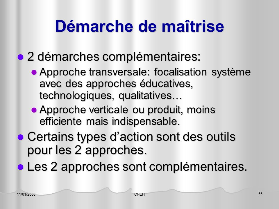 CNEH 56 11/01/2006 Démarche transversale 4 points d'impact: 4 points d'impact: Éducation: formation soignants et patients Éducation: formation soignants et patients Approche système: ré-installation d'un système de soin focalisé système et non profession.