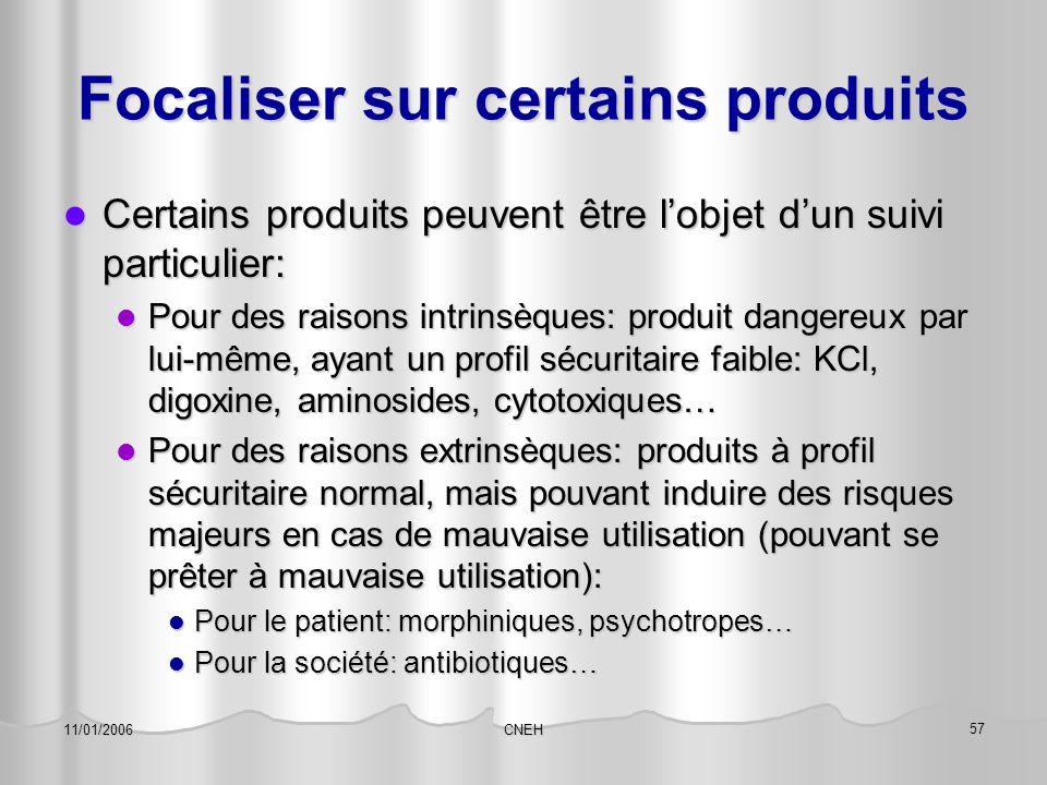 CNEH 57 11/01/2006 Focaliser sur certains produits Certains produits peuvent être l'objet d'un suivi particulier: Certains produits peuvent être l'obj