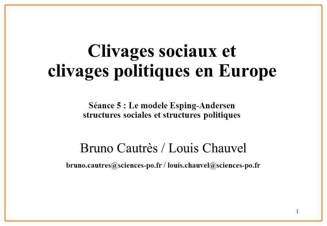 1 Clivages sociaux et clivages politiques en Europe Séance 5 : Le modele Esping-Andersen structures sociales et structures politiques Bruno Cautrès / Louis Chauvel bruno.cautres@sciences-po.fr / louis.chauvel@sciences-po.fr