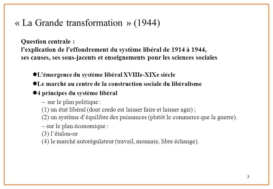 3 Question centrale : l'explication de l'effondrement du système libéral de 1914 à 1944, ses causes, ses sous-jacents et enseignements pour les sciences sociales lL'émergence du système libéral XVIIIe-XIXe siècle lLe marché au centre de la construction sociale du libéralisme l4 principes du système libéral –sur le plan politique : (1) un état libéral (dont credo est laisser faire et laisser agir) ; (2) un système d'équilibre des puissances (plutôt le commerce que la guerre).