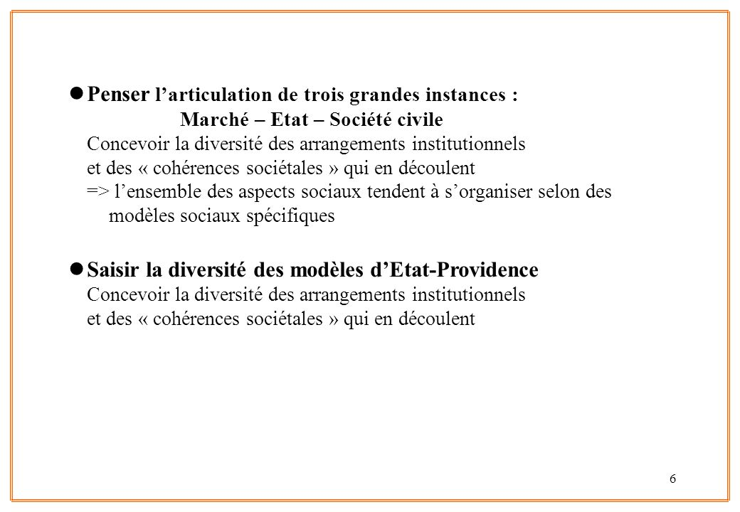 6 lPenser l'articulation de trois grandes instances : Marché – Etat – Société civile Concevoir la diversité des arrangements institutionnels et des «