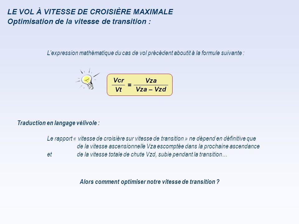 LE VOL À VITESSE DE CROISIÈRE MAXIMALE L'expression mathématique du cas de vol précédent aboutit à la formule suivante : Traduction en langage vélivol