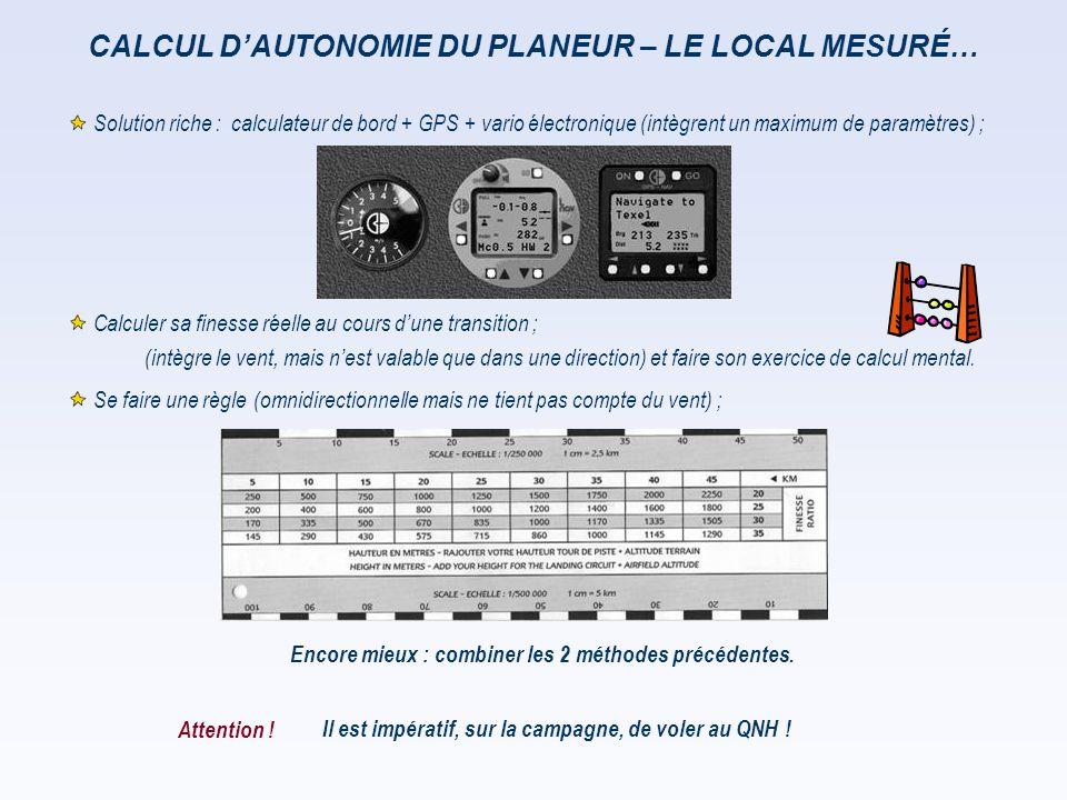 CALCUL D'AUTONOMIE DU PLANEUR – LE LOCAL MESURÉ… Il est impératif, sur la campagne, de voler au QNH ! Encore mieux : combiner les 2 méthodes précédent