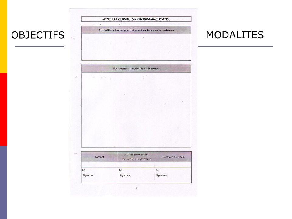 OBJECTIFS MODALITES