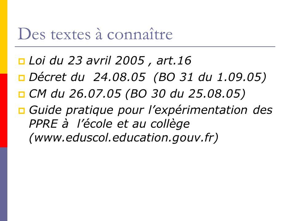 Des textes à connaître  Loi du 23 avril 2005, art.16  Décret du 24.08.05 (BO 31 du 1.09.05)  CM du 26.07.05 (BO 30 du 25.08.05)  Guide pratique pour l'expérimentation des PPRE à l'école et au collège (www.eduscol.education.gouv.fr)