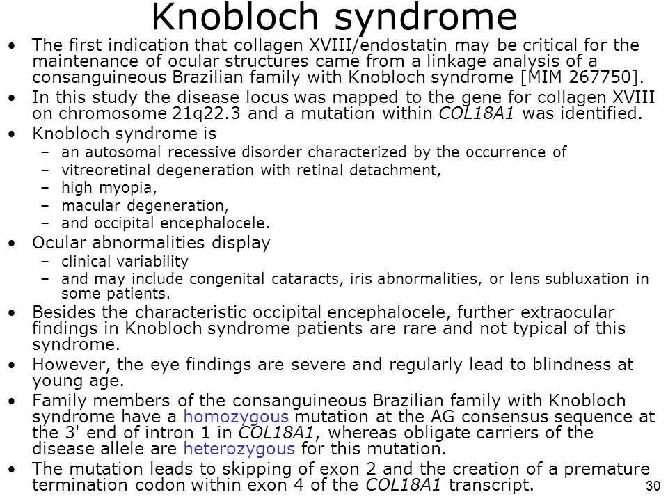 30 Knobloch syndrome The first indication that collagen XVIII/endostatin may be critical for the maintenance of ocular structures came from a linkage