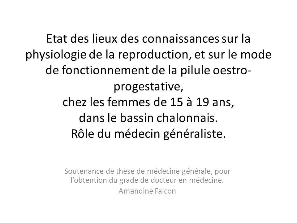 Etat des lieux des connaissances sur la physiologie de la reproduction, et sur le mode de fonctionnement de la pilule oestro- progestative, chez les femmes de 15 à 19 ans, dans le bassin chalonnais.