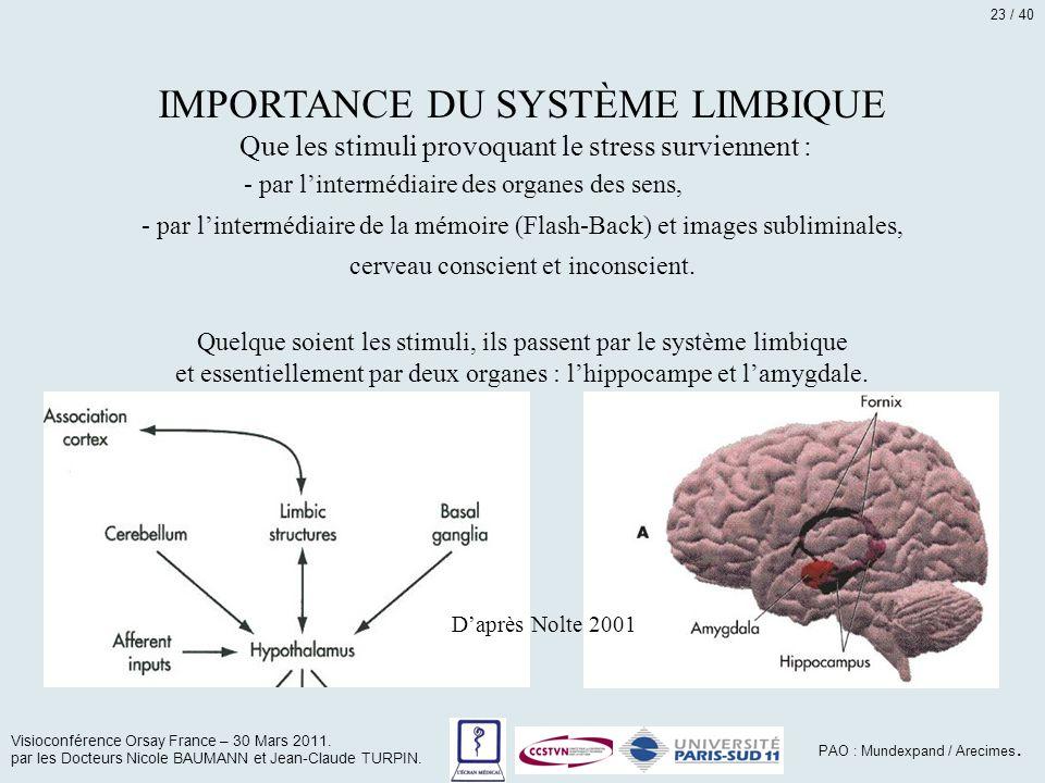 IMPORTANCE DU SYSTÈME LIMBIQUE Que les stimuli provoquant le stress surviennent : - par l'intermédiaire des organes des sens, - par l'intermédiaire de
