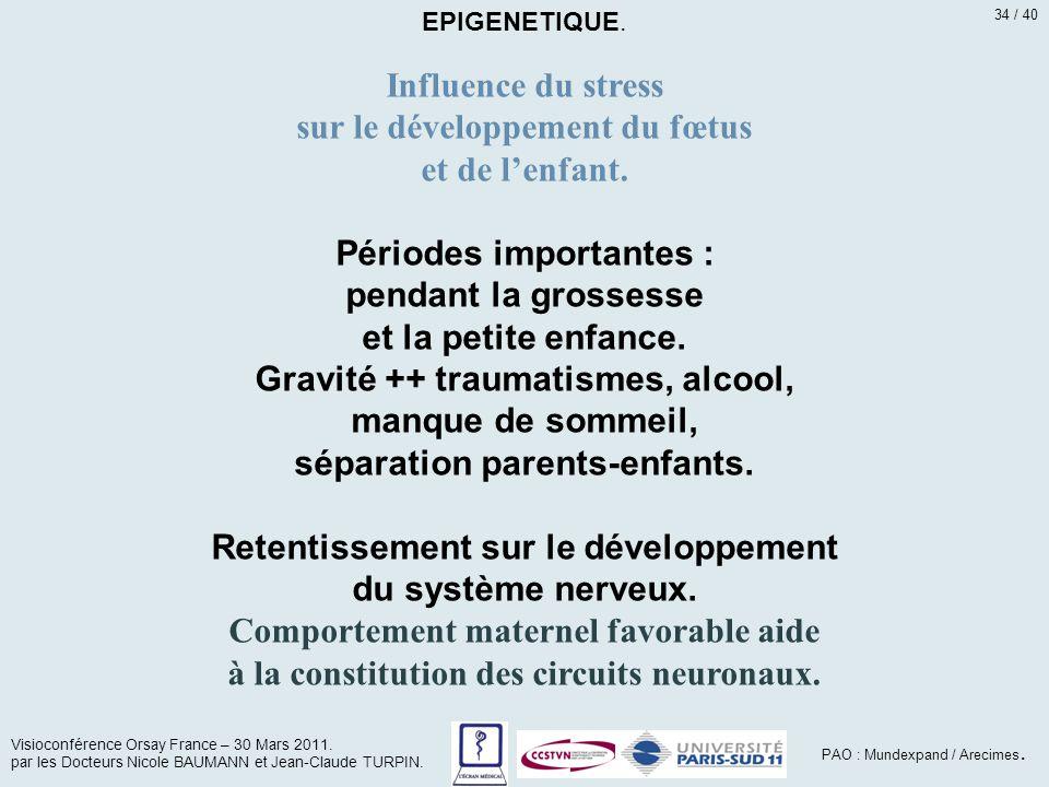 Influence du stress sur le développement du fœtus et de l'enfant. Périodes importantes : pendant la grossesse et la petite enfance. Gravité ++ traumat