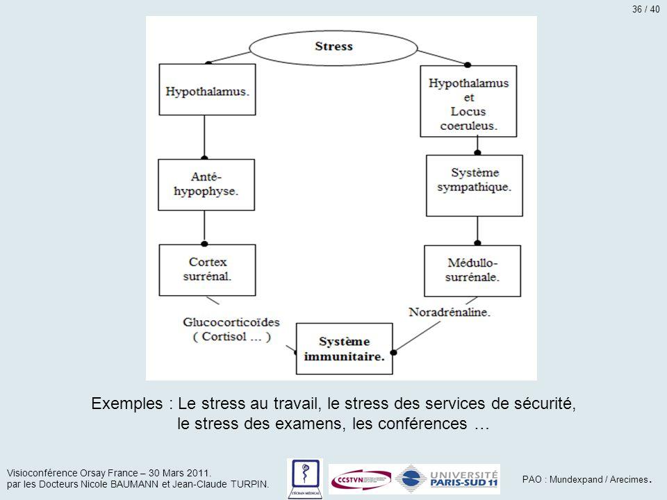Exemples : Le stress au travail, le stress des services de sécurité, le stress des examens, les conférences … Visioconférence Orsay France – 30 Mars 2