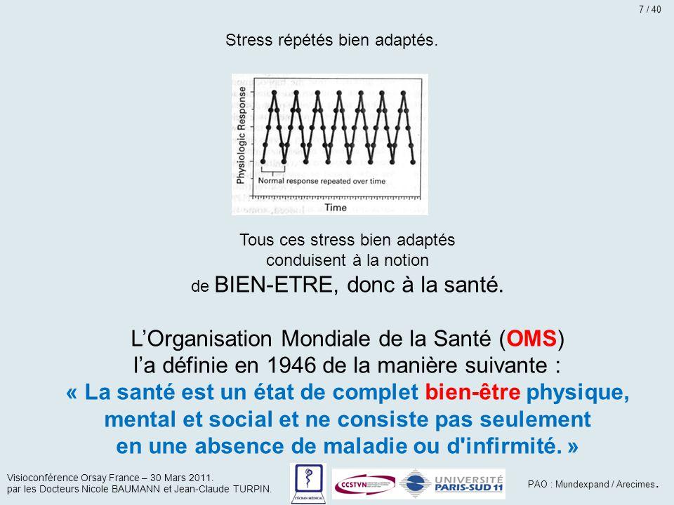 Tous ces stress bien adaptés conduisent à la notion de BIEN-ETRE, donc à la santé. L'Organisation Mondiale de la Santé (OMS) l'a définie en 1946 de la
