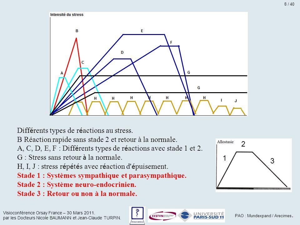 Diff é rents types de r é actions au stress. B Réaction rapide sans stade 2 et retour à la normale. A, C, D, E, F : Diff é rents types de r é actions