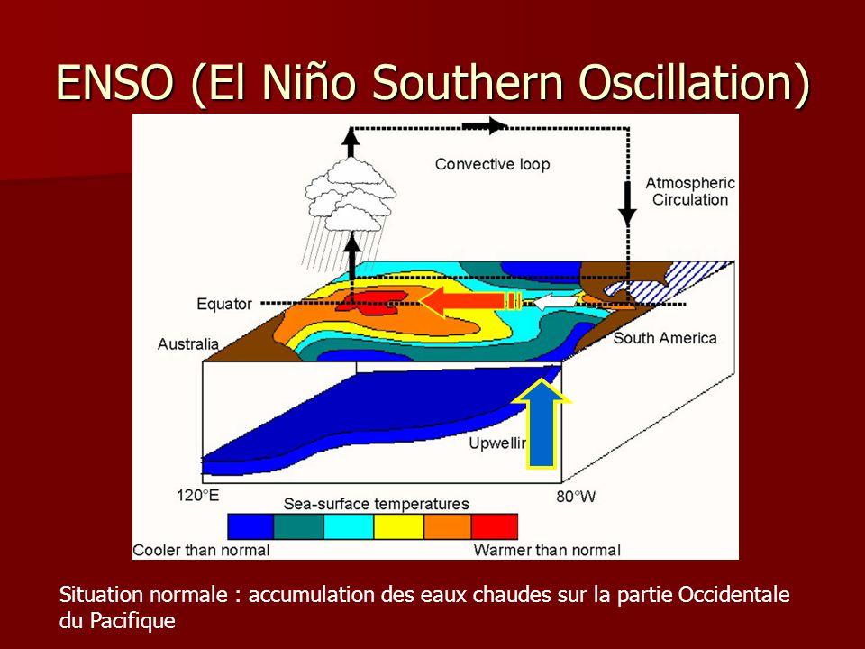 ENSO (El Niño Southern Oscillation) Situation normale : accumulation des eaux chaudes sur la partie Occidentale du Pacifique