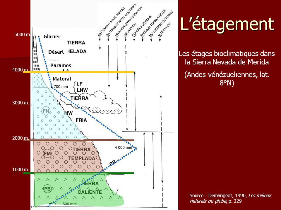 L'étagement Source : Demangeot, 1996, Les milieux naturels du globe, p. 229 Les étages bioclimatiques dans la Sierra Nevada de Merida (Andes vénézueli
