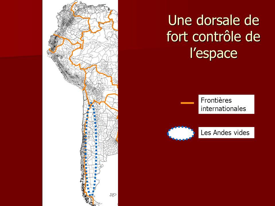 Une dorsale de fort contrôle de l'espace Frontières internationales Les Andes vides