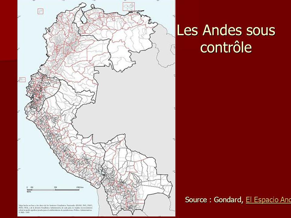 Les Andes sous contrôle Source : Gondard, El Espacio Andino El Espacio AndinoEl Espacio Andino