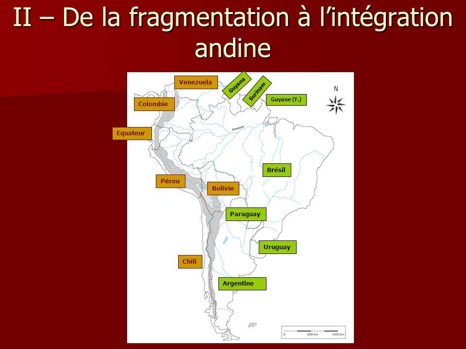 II – De la fragmentation à l'intégration andine Argentine Brésil Colombie Equateur Pérou Venezuela Uruguay Paraguay Chili Surinam Bolivie Guyana Guyan