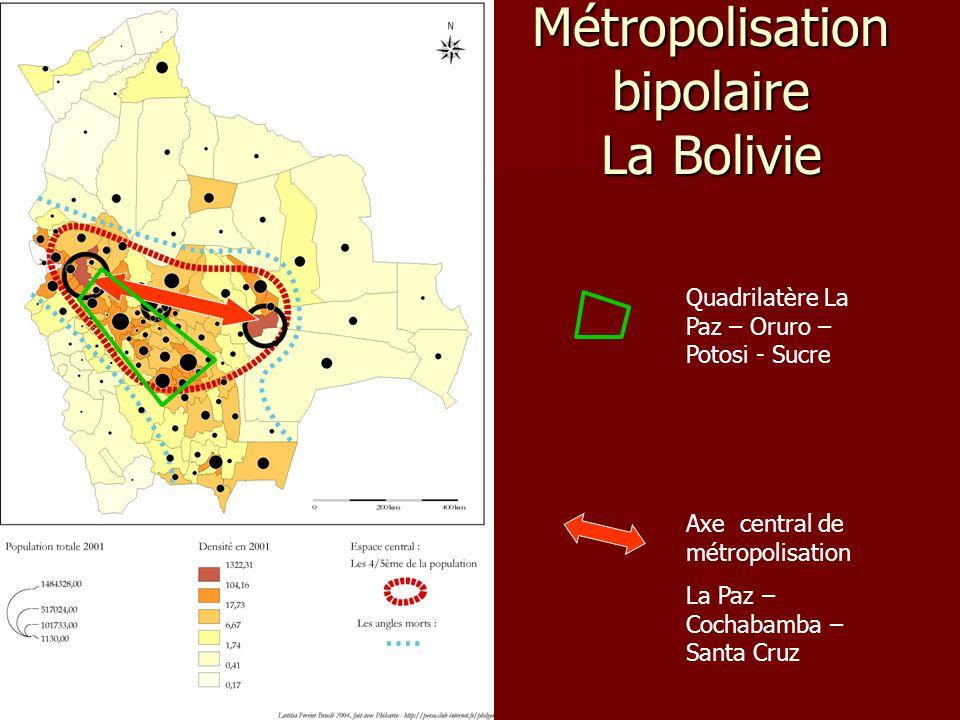 Métropolisation bipolaire La Bolivie Axe central de métropolisation La Paz – Cochabamba – Santa Cruz Quadrilatère La Paz – Oruro – Potosi - Sucre