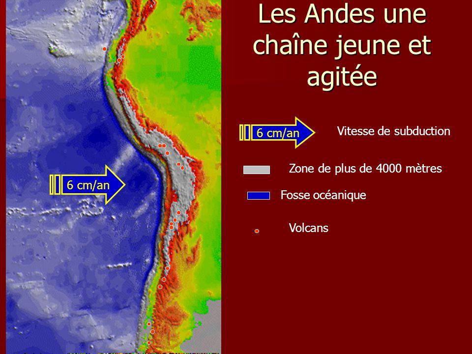 Les Andes une chaîne jeune et agitée Fosse océanique Volcans 6 cm/an Vitesse de subduction Zone de plus de 4000 mètres