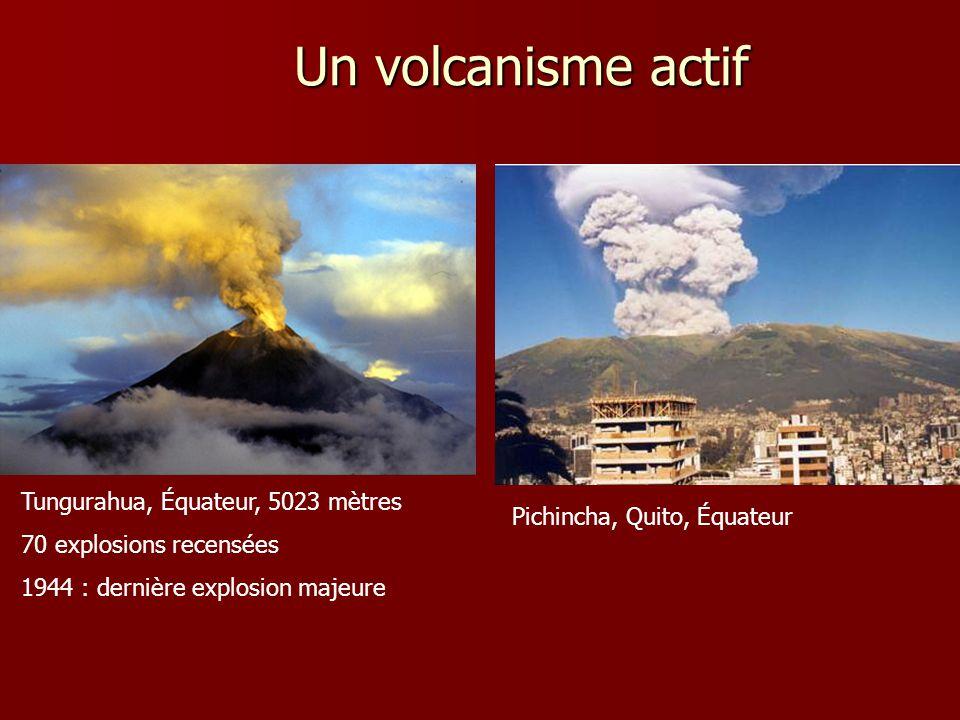 Tungurahua, Équateur, 5023 mètres 70 explosions recensées 1944 : dernière explosion majeure Un volcanisme actif Pichincha, Quito, Équateur