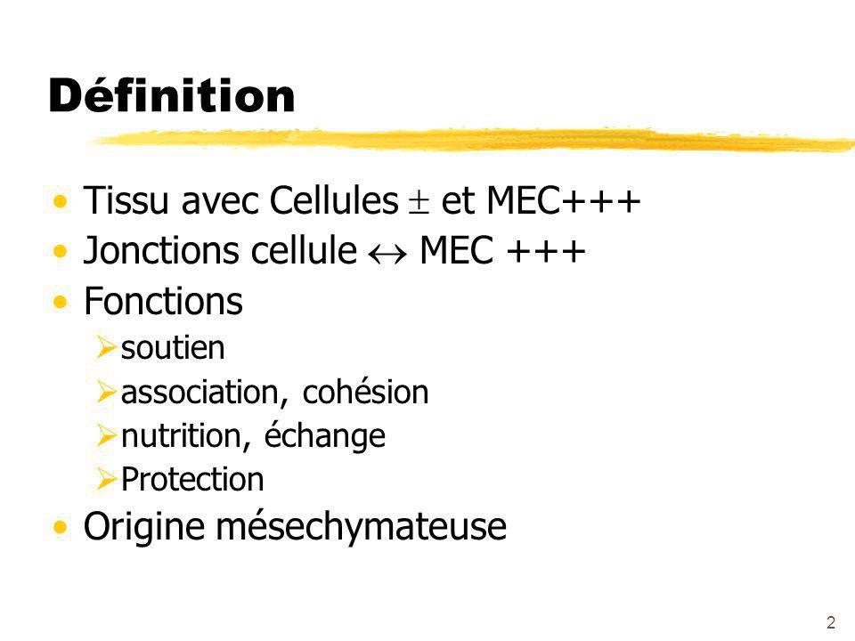 2 Définition Tissu avec Cellules  et MEC+++ Jonctions cellule  MEC +++ Fonctions  soutien  association, cohésion  nutrition, échange  Protection