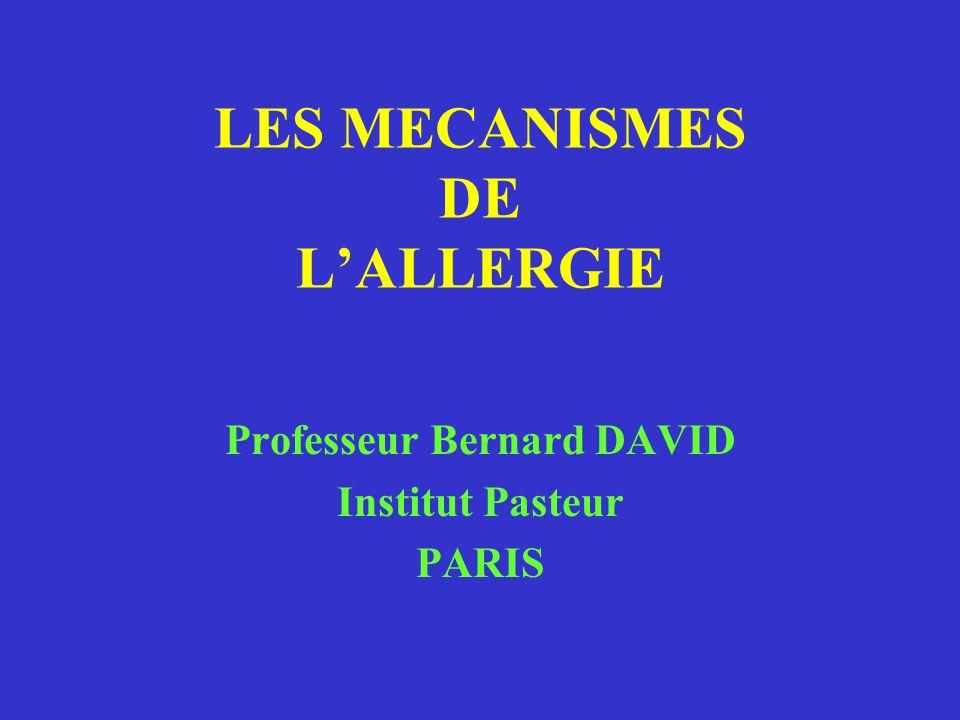 LES MECANISMES DE L'ALLERGIE Professeur Bernard DAVID Institut Pasteur PARIS