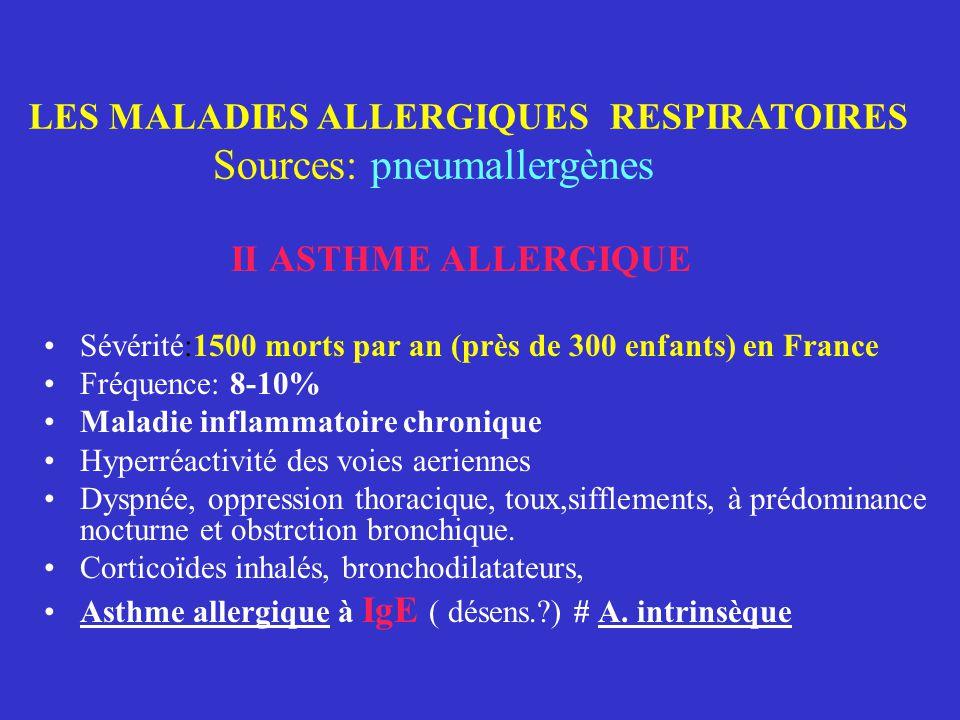 LES MALADIES ALLERGIQUES RESPIRATOIRES Sources: pneumallergènes I- RHINITES ALLERGIQUES On distingue les rhinites intermittentes,saisonnières (pollino