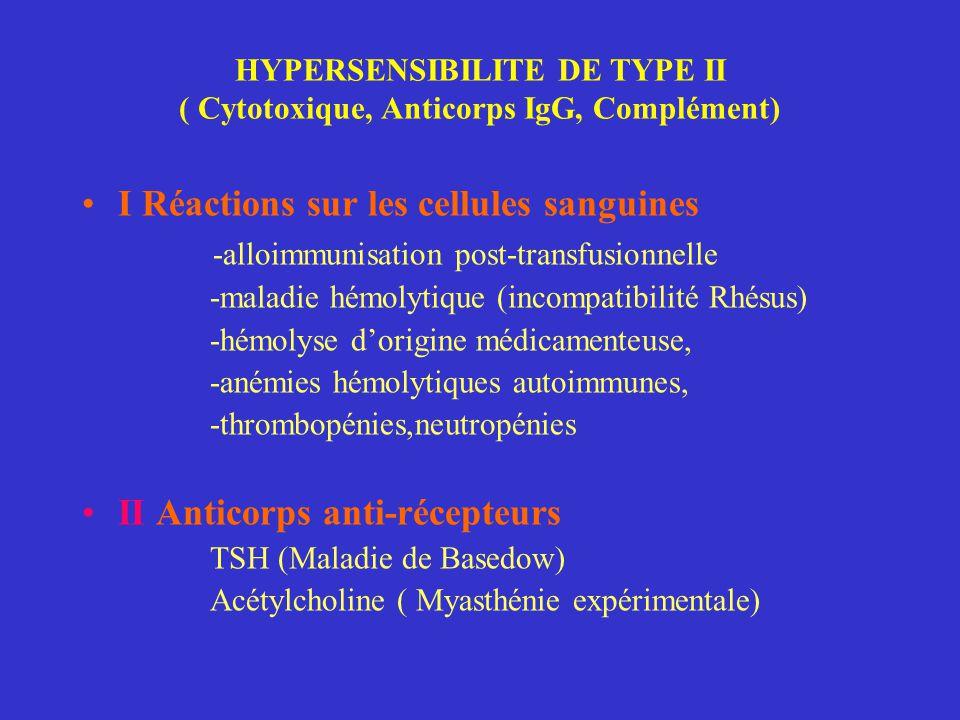 HYPERSENSIBILITE DE TYPE II ( Cytotoxique, Anticorps IgG, Complément) I Réactions sur les cellules sanguines -alloimmunisation post-transfusionnelle -maladie hémolytique (incompatibilité Rhésus) -hémolyse d'origine médicamenteuse, -anémies hémolytiques autoimmunes, -thrombopénies,neutropénies II Anticorps anti-récepteurs TSH (Maladie de Basedow) Acétylcholine ( Myasthénie expérimentale)
