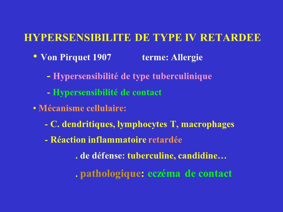 HYPERSENSIBILITE DE TYPE IV RETARDEE Von Pirquet 1907 terme: Allergie - Hypersensibilité de type tuberculinique - Hypersensibilité de contact Mécanisme cellulaire: - C.
