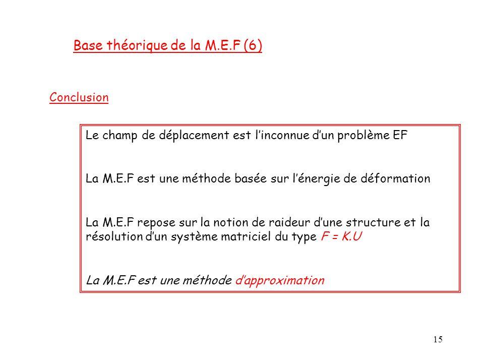 15 Base théorique de la M.E.F (6) Conclusion Le champ de déplacement est l'inconnue d'un problème EF La M.E.F est une méthode basée sur l'énergie de d
