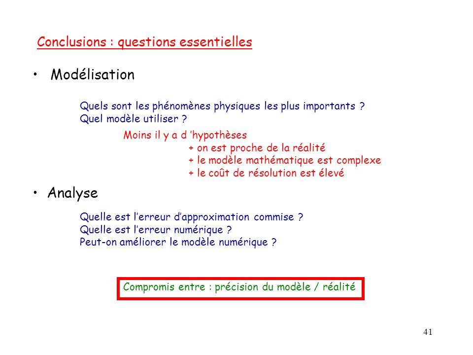 41 Modélisation Quels sont les phénomènes physiques les plus importants ? Quel modèle utiliser ? Moins il y a d 'hypothèses + on est proche de la réal