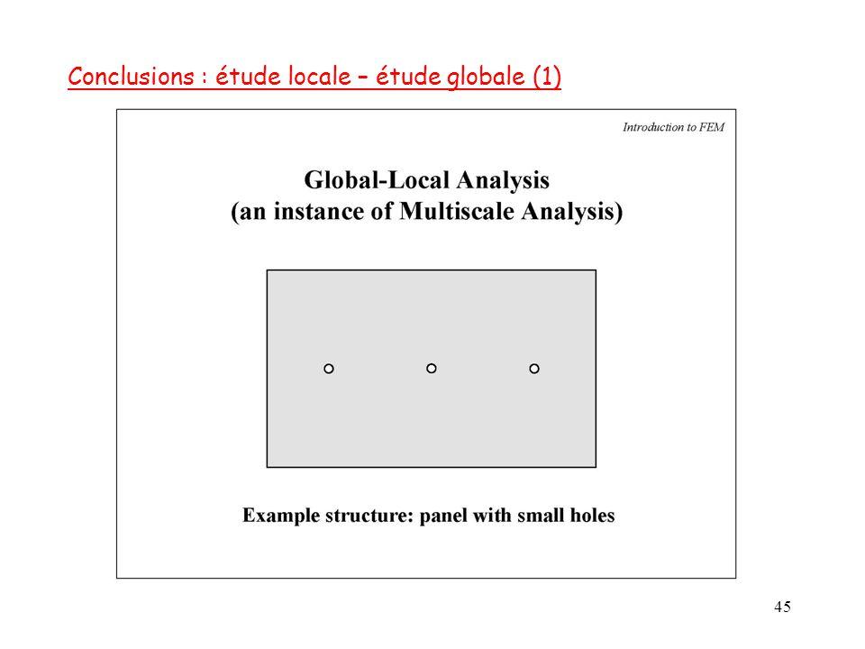 45 Conclusions : étude locale – étude globale (1)