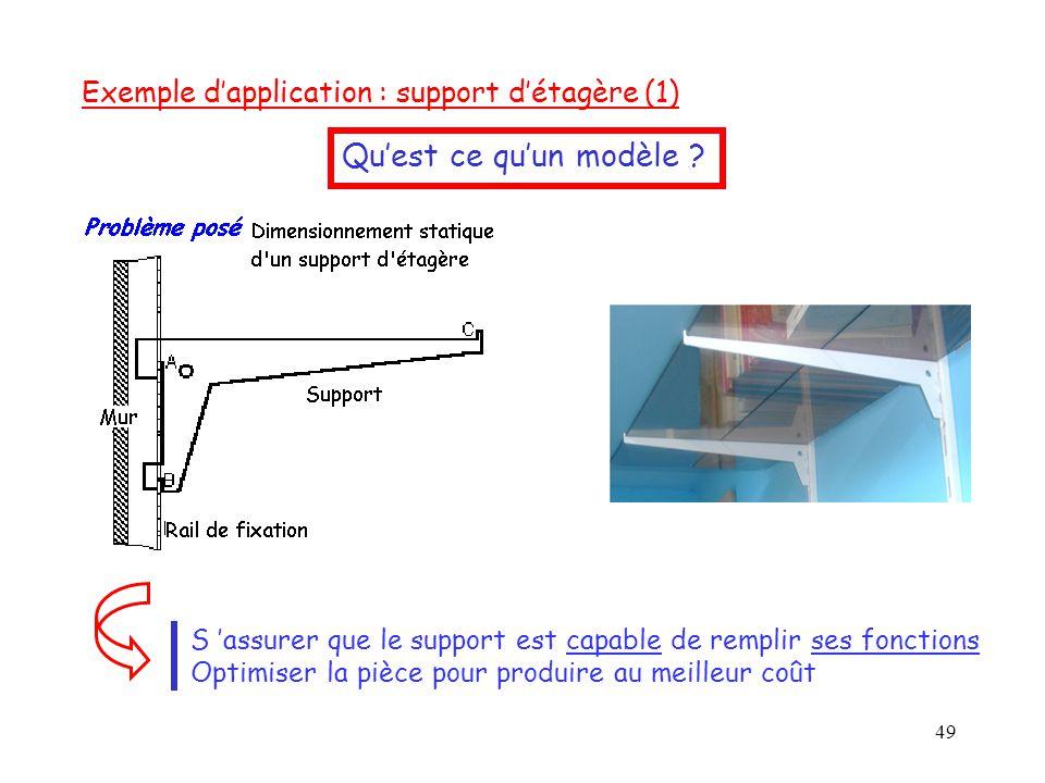 49 Exemple d'application : support d'étagère (1) S 'assurer que le support est capable de remplir ses fonctions Optimiser la pièce pour produire au me
